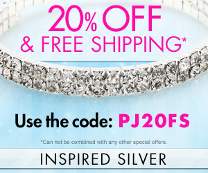 20% off and free shipping at inspired silver
