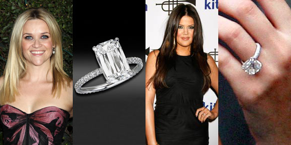 reese witherspoon, khloe kardashian, engagement ring
