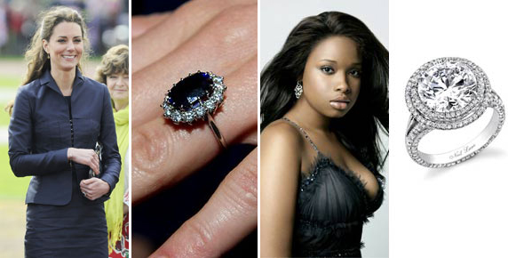 kate middleton, jennifer hudson, engagement rings