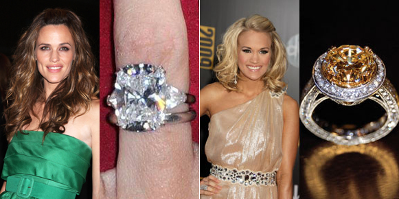 carrie underwood, jennifer garner, engagement rings