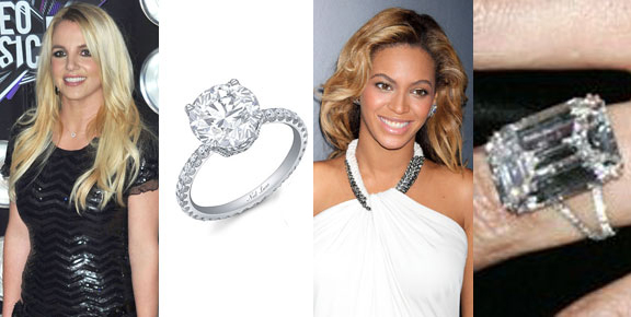 britney spears, beyonce, engagement rings
