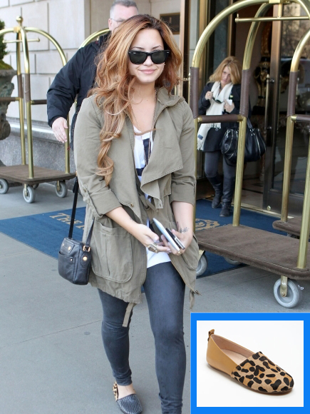 demi lovato in house of harlow kye flats