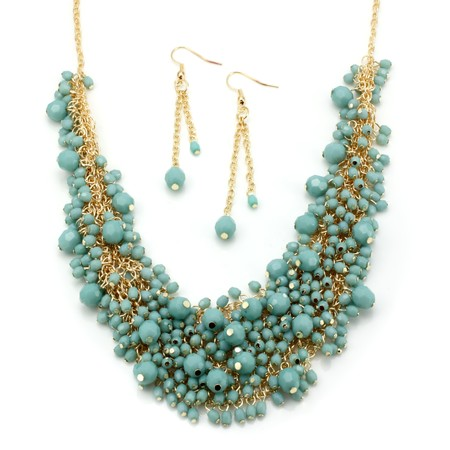 Turquoise Beaded Statement Necklace and Earrings Set